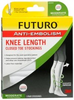FUTURO Anti-Embolism Stockings Knee Length Closed Toe 18mm/Hg Large Regular White 1 Pair [382252035000]