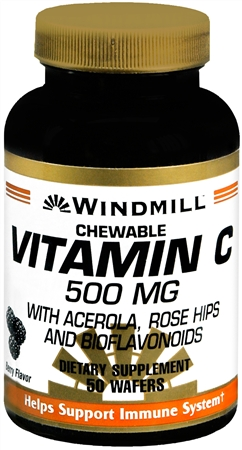 Windmill Vitamin C-500 Chewable Wafers 50 Tablets [035046001902]