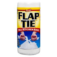 Glad Flap Tie Kitchen Trash Bags 13 Gallons, White 40 ea [012587782095]