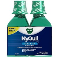 Vicks NyQuil Cold & Flu Nighttime Relief Liquid, Twin Pack, Original Flavor 12 oz, 2 ea [323900014299]
