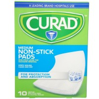 Curad Medium Non-Stick Pads 3 Inches X 4 Inches 10 Each [080196300085]