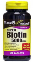 Mason Natural Super Biotin 5000 mcg, Softgels 60 ea [311845156150]