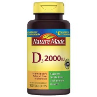Nature Made Vitamin D3 2000 IU Tablets 100 ea [031604026738]