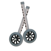 "Drive Medical Deluxe Extended Height 5"" Walker Wheels and Legs Combo Pack, Gray, 5"" (Pair) [822383118949]"