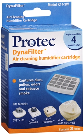 Protec DynaFilter Air Cleaning Humidifier Cartridge 3 Pack 3 Each [028785313146]