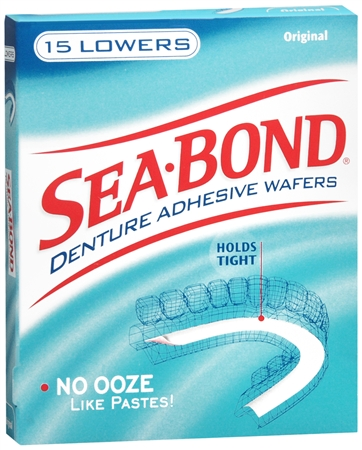 SEA-BOND Denture Adhesive Wafers Lowers Original 15 Each [011509001634]
