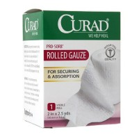 Curad Pro-Sorb Rolled Gauze Sterile Roll, White, 2