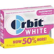 Orbit White Sugar Free Gum Bubblemint 8 pack (18 ct per pack)   [022000119742]