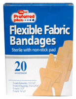Bandages  Flexible Fabric Sterile with Non-Stick Pads, Assorted 20 ea [616784369495]