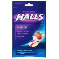 Halls Breezers Drops Cool Creamy Strawberry 25 ea [312546622197]