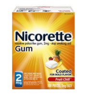 Nicorette 2 mg Nicotine Gum, Fruit Chill 100 ea [307667857504]