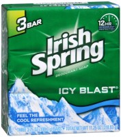 Irish Spring Deodorant Bar Soap, Icy Blast, 3.75 oz bars, 3 ea [035000141255]