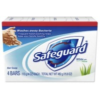 Safeguard Antibacterial Soap, White with Touch of Aloe 4 oz bars, 4ea [037000088349]
