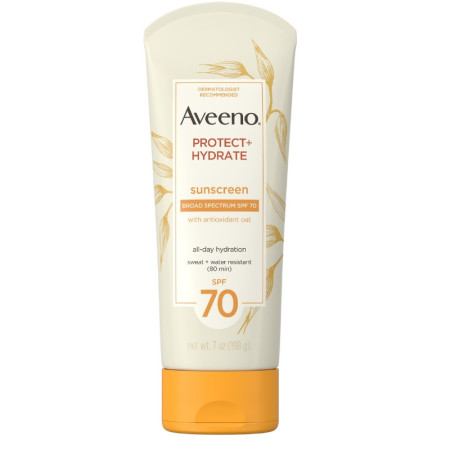 Aveeno Protect + Hydrate Moisturizing Sunscreen Lotion with Broad Spectrum SPF 70 & Antioxidant Oat, Oil-Free, Sweat- & Water-Resistant 7  oz [381371182077]