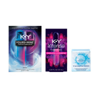 K-Y Ultra Thin Latex Condoms (12cnt), Yours + Mine Couples Personal Lubricants (3oz) & Intense Pleasure Gel Lubricant (.34oz) 1 ea [191567739127]
