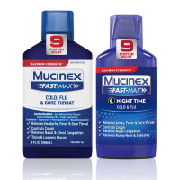 Mucinex Fast-Max Adult Liquid Cold, Flu, & Sore Throat 9 Oz & Fast-Max Adult Nighttime Cold and Flu Liquid, 6 Oz, 1 ea [191567422470]