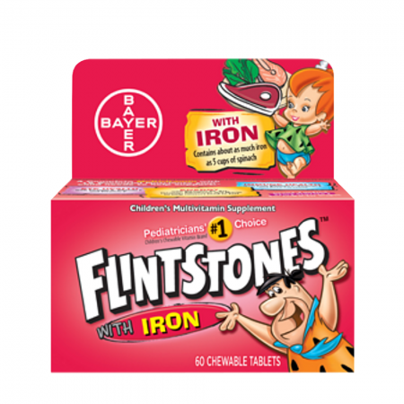 Flintstones Chewable Tablets With Iron 60 Tablets [016500079095]
