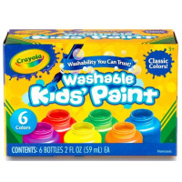 Crayola Washable Kid's Paint, Assorted Colors 6 ea [071662112042]