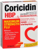 Coricidin HBP Tablets Maximum Strength Flu 20 Tablets [041100801401]