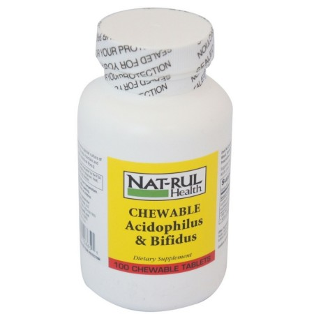 Nat-Rul Acidophilus with Bifidus Natural Probiotic Chewable Tablets 100 ea [094604108651]