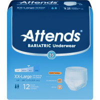 Adult Absorbent Underwear Attends Bariatric Pull On 2XLarge Disposable Moderate Absorbency - 12 ea [086679424644]
