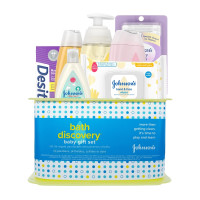 Johnsons Bath Discovery Baby Gift Set, Baby Bath Time Essentials for Parents-To-Be,  7 ea [381371188789]