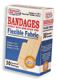 Bandages Flexible Fabric Sterile  with Non-Stick Pads, Assorted 30 ea [616784369389]