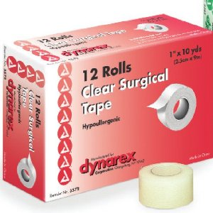 "Dynarex Transparent Surgical Tape 1""X10YD  12  pack [616784357225]"