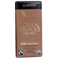 Green & Black's Organic Almond Milk Chocolate Bar, 3.5 oz ea, 37% Cacao 10 ea [708656100074]