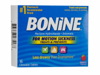 Bonine Chewable Tablets for Motion Sickness, Raspberry 16 ea [365197275168]