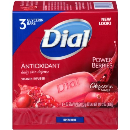 Dial Glycerin Soap Bars with Power Berries, 4 oz bars, 3 ea [017000039008]
