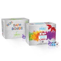 Sky Organics Kids Bath Bombs Gift Sets with Surprise Toys, (6x5oz & 12x3.2oz) Fun Assorted Colored XL Bath Fizzies, Kid Safe, Gender Neutral 1 ea [191897964886]