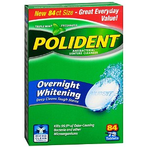 Polident Overnight Whitening, Antibacterial Denture Cleanser, Triple Mint Freshness 84 ea [310158034476]