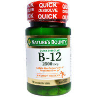 Nature's Bounty Vitamin Quick Dissolve B-12 2500 mcg Tablets, 75 ea [074312589119]
