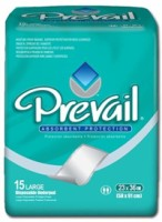 "Underpad Prevail 23 X 36"" Disposable Fluff Light Absorbency- 15 ea [090891131556]"