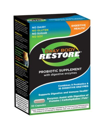 Daily Body Restore Probiotic Supplement Capsules with Digestive Enzymes 30 ea [851165003142]