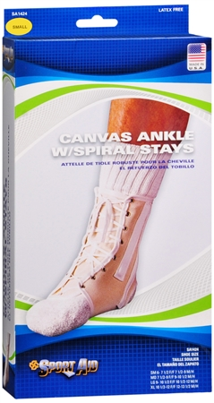 Sport Aid Ankle With Spiral Stays Canvas SM 1 Each [763189016797]