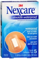 Nexcare Absolute Waterproof Premium Adhesive Pads 2-3/8 Inches X 4 Inches 5 Each [051131835580]
