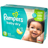 Pampers Baby Dry Diapers, Size 3 32 ea [037000862109]
