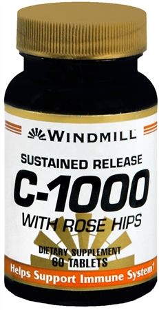 Windmill Vitamin C-1000 Tablets With Rose Hips Sustained Release 60 Tablets [035046002015]
