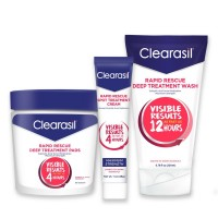 Clearasil Rapid Rescue Acne Kit With Deep Treatment Cleansing Pads 90ct, Spot Treatment Cream 1oz & Deep Treatment Wash 6.78oz - 1 ea [191567138760]