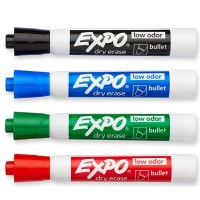 Expo Low-Odor Dry Erase Markers Kit, Bullet Tip, Assorted Colors 4 ea [071641820746]