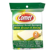 Comet Cellulose Scrub Sponges, With Erase-it Away 2 ea [071582001778]