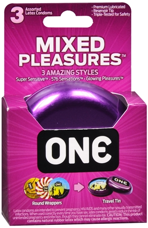 ONE Mixed Pleasures Lubricated Latex Condoms 3 Each [726893110038]