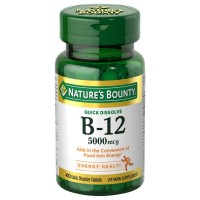 Nature's Bounty Vitamin B12 5000 mcg Quick Dissolve Tablets, Natural Cherry 30 ea [074312589126]