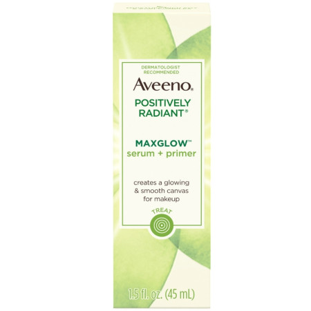 AVEENO Positively Radiant MaxGlow Hydrating Face Serum + Primer with Moisture Rich Soy & Kiwi Complex 1.5  oz [381371181407]