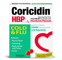 Coricidin HBP Cold & Flu Tablets, 10 ea [041100808080]