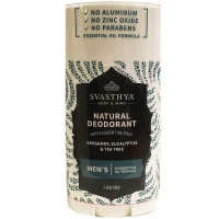Svasthya Body & Mind Natural Deodorant with Essential Oils - Mens 2.45 oz [612524954426]