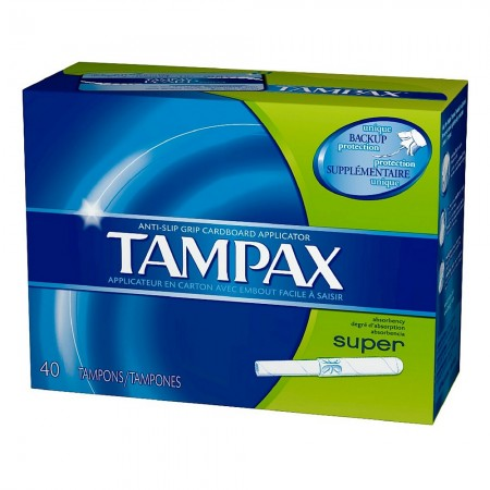 Tampax Super Absorbency Tampons, Anti-Slip Grip Cardboard Applicator 40 ea  [073010321106]