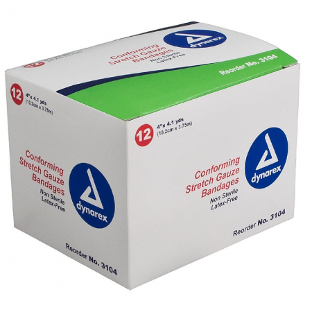 Dynarex Conforming Stretch Gauze Bandages 4 Inch Non-Sterile 12 Each [616784310428]